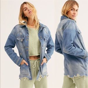 Free People moonchild denim shirt jacket size xs